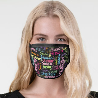 Cute Personalized First Name Pattern on Black Face Mask