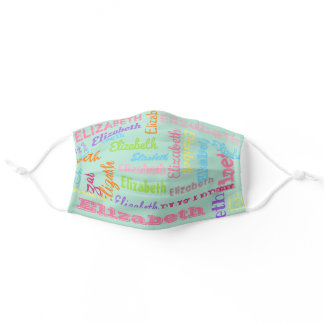 Cute Personalized First Name Pattern on Mint Green Adult Cloth Face Mask