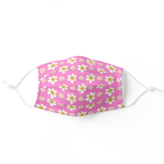 Cute Piggy Pig Animal White Flower Floral Pattern Adult Cloth Face Mask