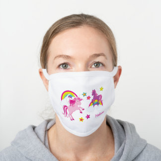 Cute Pink and Purple Unicorns and Rainbows White Cotton Face Mask
