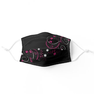 Cute Pink Black White Floral Flower Swirl Girly Adult Cloth Face Mask