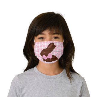 Cute Pink Bubble Gum Easter Bunny Kids Face Mask