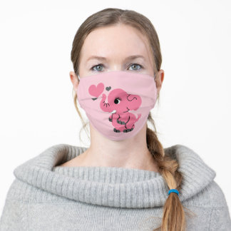 Cute Pink Elephant Adult Cloth Face Mask