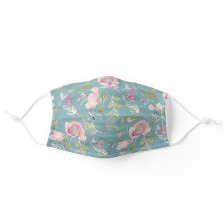 Cute Pink Flowers Green Leaves Blue Springtime Adult Cloth Face Mask
