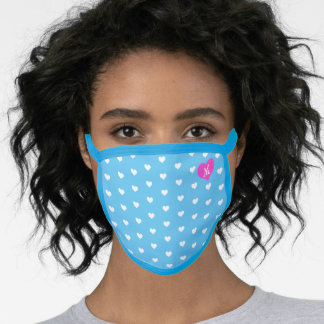 Cute Pink Monogram, White & Blue Heart Pattern Face Mask