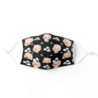 Cute Pink Pig Piggy with White Clouds Black Style Adult Cloth Face Mask
