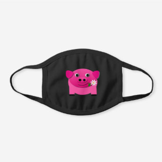 Cute Pink Pig with Flower Cotton Face Mask
