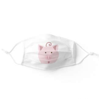 Cute Pink Surprised Pig Adult Cloth Face Mask