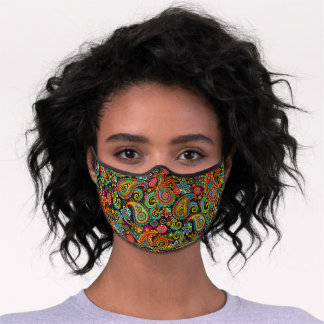 Cute Pink Turquoise Blue Orange Floral Paisley Premium Face Mask