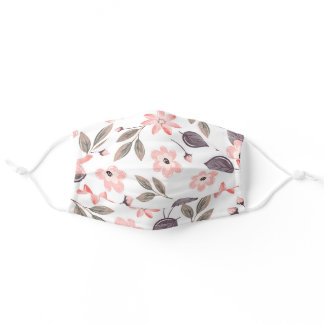 Cute Pink Watercolor Spring Floral Adult Cloth Face Mask