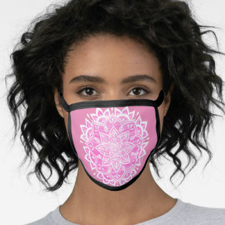 Cute Pink White Floral Mandala Face Mask