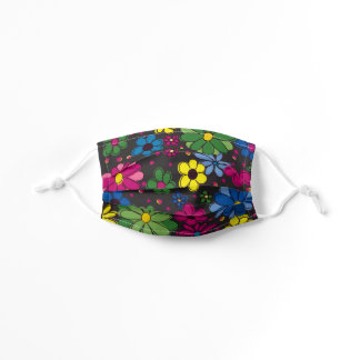 Cute Pink Yellow Blue Green Flowers Black Kids' Cloth Face Mask