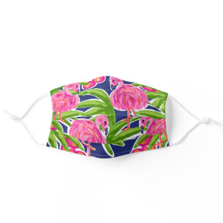 Cute Preppy Pink Flamingo Design Adult Cloth Face Mask