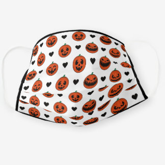Cute Pumpkins Emoji Pattern Black Border Frame Cloth Face Mask