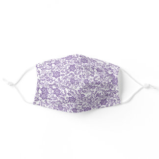Cute Purple And White Simple Classy Floral Paisley Adult Cloth Face Mask