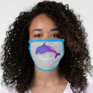 Cute  purple  dolphin  -  add name face mask