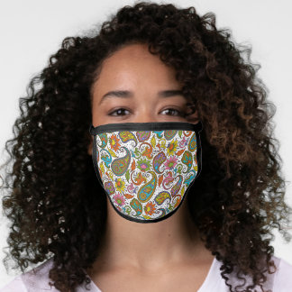 Cute Purple Pink Turquoise Blue Floral Paisley Face Mask