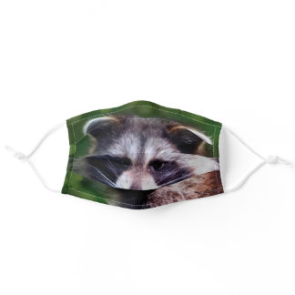 Cute raccoon on a forest adult cloth face mask