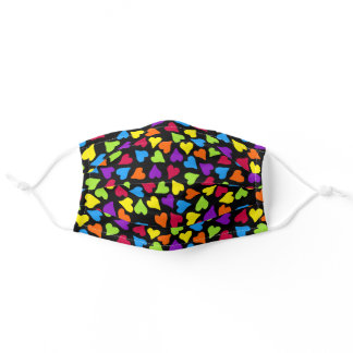 Cute Rainbow Black Bright Colorful Hearts Adult Cloth Face Mask