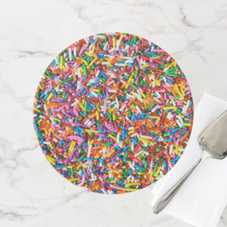 Cute Rainbow Sprinkles Candy Bakery Food Pattern Cake Stand