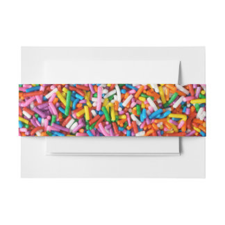 Cute Rainbow Sprinkles Candy Bakery Food Pattern Invitation Belly Band