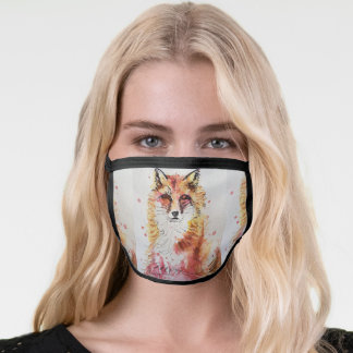 Cute Red Fox Watercolour Animal art Face Mask