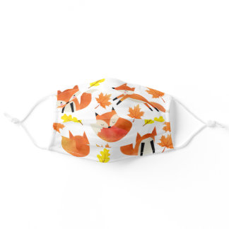 Cute Red Fox with Autumn Leaves Pattern Adult Cloth Face Mask