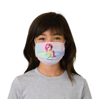 Cute Red Haired Magical Unicorn Girl Personalized Kids' Cloth Face Mask