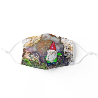 Cute red hat garden gnome design adult cloth face mask