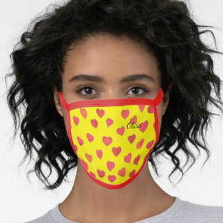 Cute Red Hearts Your NameYellow Face Mask