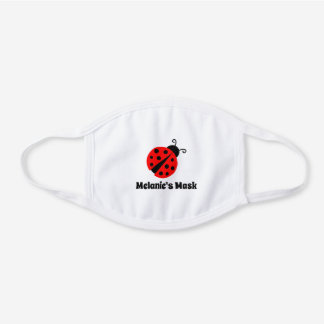 Cute red ladybug design custom name kid's white cotton face mask
