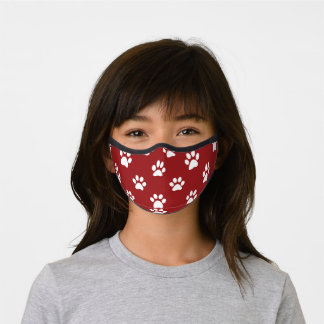 Cute Red Paws Pattern Premium Face Mask