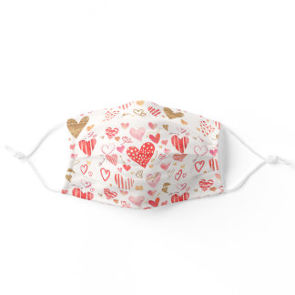 Cute Red, Pink, Gold Glitter Watercolor Hearts Adult Cloth Face Mask