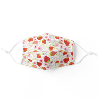 Cute Red Strawberry Fruit Pattern Adult Cloth Face Mask