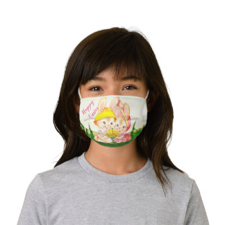 Cute Retro Easter Bunny with Daffodils Kids' Cloth Face Mask