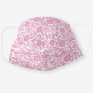 Cute Rose Pink White Simple Classy Floral Paisley Adult Cloth Face Mask