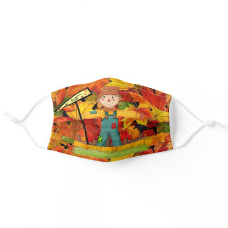 Cute Scarecrow Welcome Fall can Hold a Filter Adult Cloth Face Mask