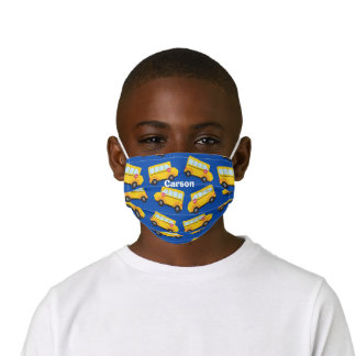 Cute School Bus Pattern Blue Custom Kids' Cloth Face Mask