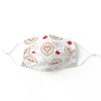 Cute Sewing Heart Cross Stitch Adult Cloth Face Mask