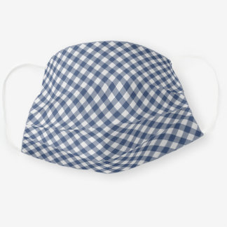 Cute Shabby Chic Vintage Dark Blue White Gingham Cloth Face Mask