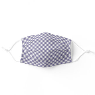 Cute Shabby Chic Vintage Purple White Gingham Adult Cloth Face Mask