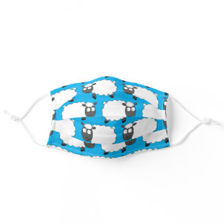 Cute Sheep Cartoon Animals Colorful Lamb Print Adult Cloth Face Mask