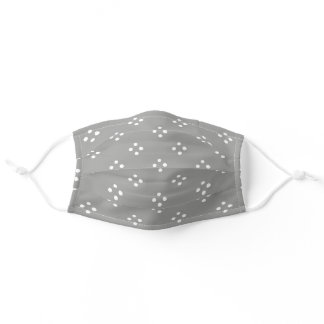 Cute Simple Gray & White Dotted Diamond Pattern Adult Cloth Face Mask
