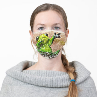 Cute Sketched Dabbing Frog Adult Cloth Face Mask