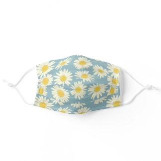 Cute Sky Blue And White Floral Daisy Adult Cloth Face Mask