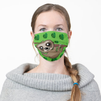 Cute Sloth Jungle Green Cartoon Rainforest Pattern Adult Cloth Face Mask