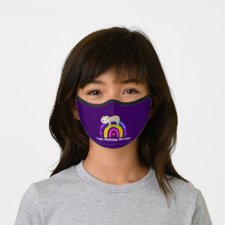 Cute Sloth Rainbow Kawaii Custom Purple Birthday Premium Face Mask