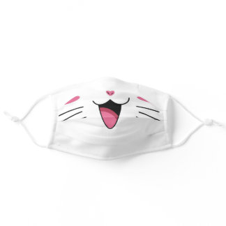 Cute smile kitty cat pet kids animals adult cloth face mask