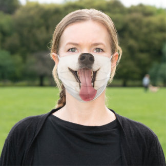 Cute smiling dog face photo adult cloth face mask