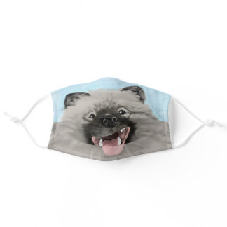 Cute Smiling Keeshond Dog | Keesie Lover's Adult Cloth Face Mask